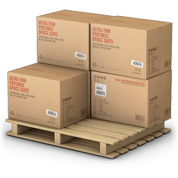 wooden pallet with boxes transparent